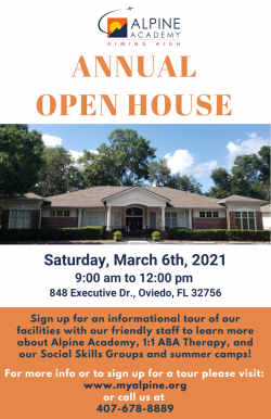 An ad for Alpine Academy annual open house.