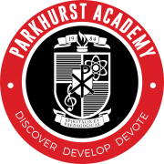 Logo for Parkhurst Academy. With the image of a crest with musical and scientific symbols in the center.