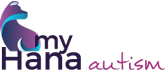 My Hana Autism logo. With blue and purple wave symbol.