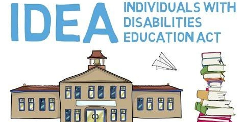The logo for Individuals with disabilities education act. With a drawing of s school and a stack of books.